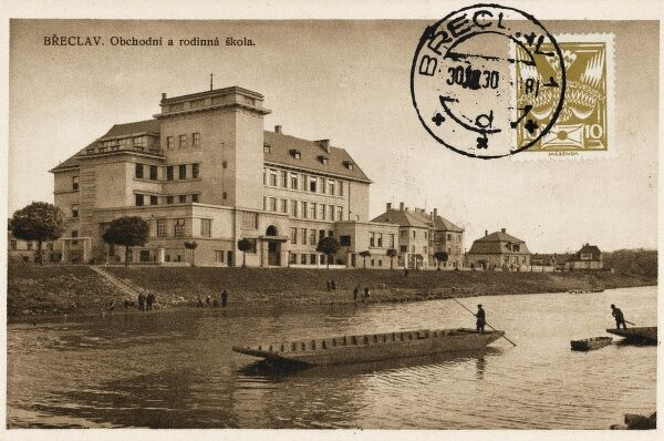 Breclav - a town in the South Moravian Region, Czech Republic, on the border with Lower Austria on Dyje River (pictured). This card shows the The Business Academy of Breclav, still going strong 79 years after this card was sent!