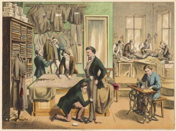 A busy tailor's workshop, with a gentleman being fitted for a new suit