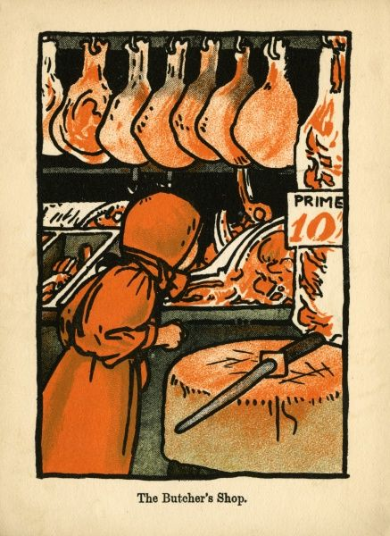 The Butcher's Shop. A young girl in red dress and bonnet looks at the variety of cuts of meat available at the Butchers Shop