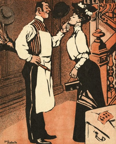 The butler inspects the new housemaid, warning her that her progress is in his hands Date: 1906