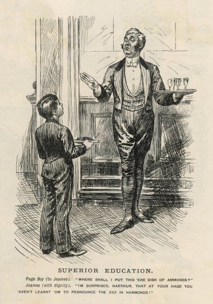 'Superior Education' Butler carrying a tray of glasses converses with a page