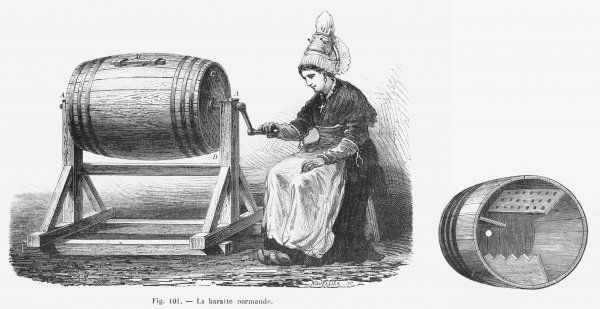 A Normandy Butter churn in action and in cross-section, showing the shaped interior paddles for working the butter
