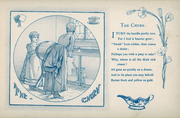 The Churn: The housemaid and a little girl share the task of making butter
