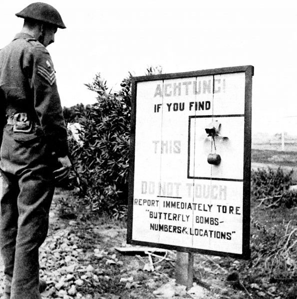 Photograph of a British sargeant looking at a warning notice, regarding 'Butterfly' anti-personnel mines in Italy, during the Second World War