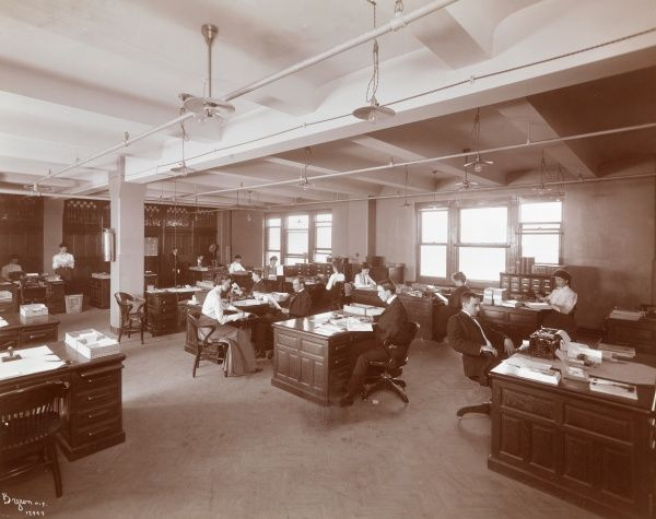 Butterick Bldg. Interior of an open office space at the Butterick Publishing Co.; office workers and furniture visible