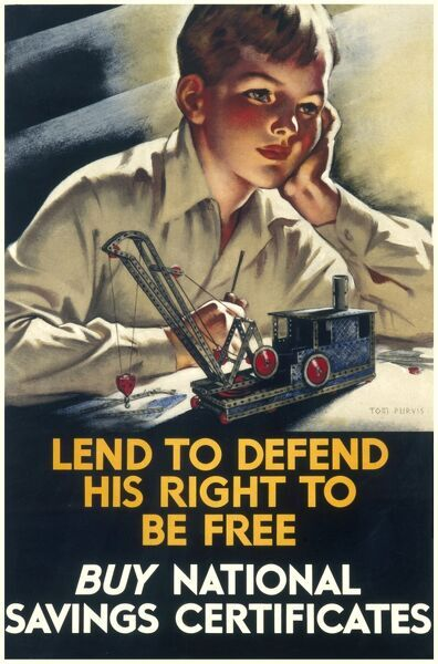 Poster urging the reader to Buy National Savings Certificates: 'Lend to defend his right to be free' featuring an angelic boy constructing something with meccano