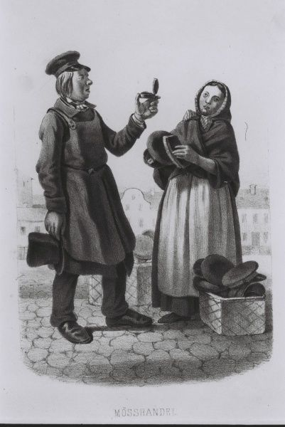 Buying a new cap. Scene from the Swedish every day life Date: 1850s