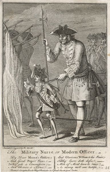 A satire on the youthfulness of some British Army officers whose fathers buy them a commission. Here a boy- officer is watched over by a 'nurse' who holds his reins