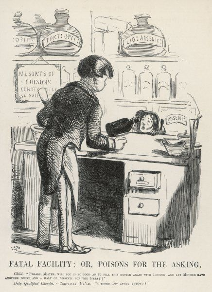 Buying laudanum and arsenic over the counter in a chemist's shop