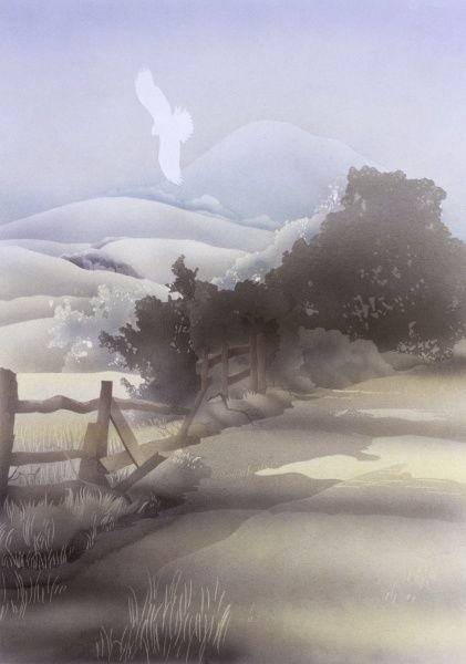 A Buzzard visible only as a white silhouette flies up over a broken wooden fence on the lower levels of a hilly countryside scene. Airbrush painting by Malcolm Greensmith