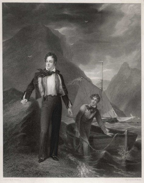 GEORGE GORDON,LORD BYRON at age 21, standing by his boat, with an unnamed friend, in an unidentified location, but wherever it is, it's suitably wild and romantic