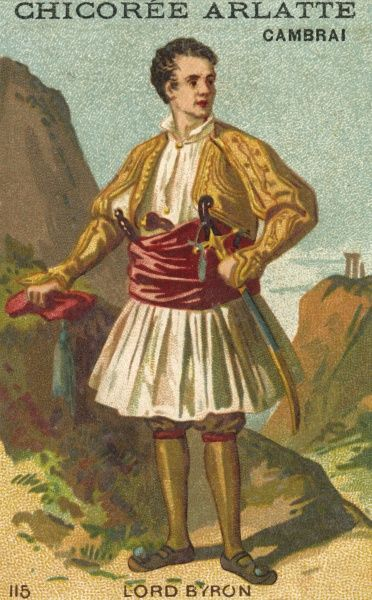 GEORGE GORDON,LORD BYRON poet and supporter of Greek independence, in his Greek costume. Date: 1788-1824