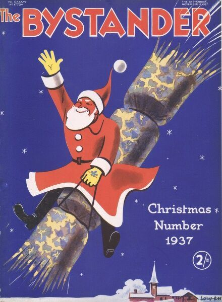 A colourful Christmas number front cover with Father Christmas riding on a cracker