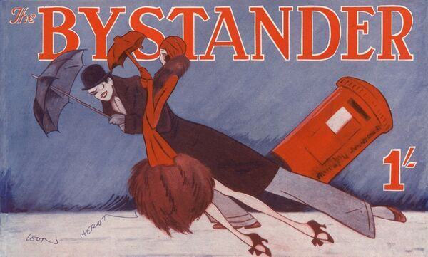 Stylised illustration for the Bystander cover masthead showing a couple struggling through a gale that is so strong, it even threatens to uproot a postbox. Date: 1930
