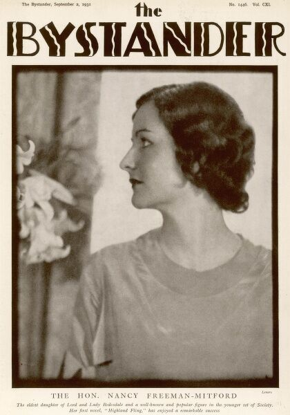 A black and white photograph on the cover of The Bystander in 1931, depicting the Hon. Nancy Freeman-Mitford (1904-1973), writer of comic novels, who was the eldest daughter of Lord and Lady Redesdale