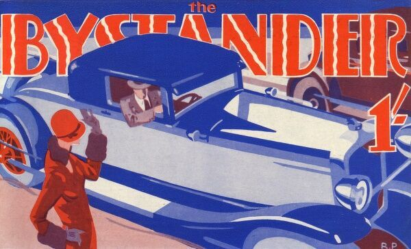 Front cover masthead design for The Bystander featuring a smart lady waving to a chap driving a gleaming luxury car. Date: 1930
