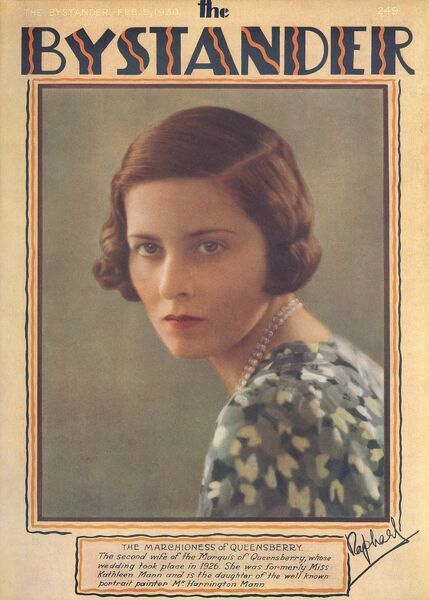 Cathleen Mann (1896-1959), Artist; second wife of Francis A. Kelhead, 11th Marquess of Queensbury; daughter of Harrington Mann. Pictured on the front cover of The Bystander magazine in a colour photograph by Raphael. Date: 1930
