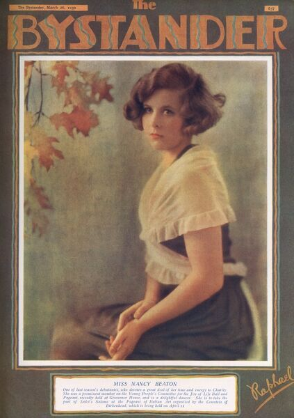 Bystander front cover featuring an exclusive photograph by Raphael of Nancy Beaton (1909-1999), Wife of Sir Hugh Houston Smiley, 3rd Bt; sister of Cecil Beaton. Date: 1930