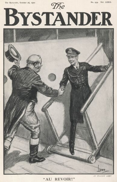 John Bull bidding farewell, to Edward, Prince of Wales, as he embarks H.M.S. Renown for his royal tour of India in 1921