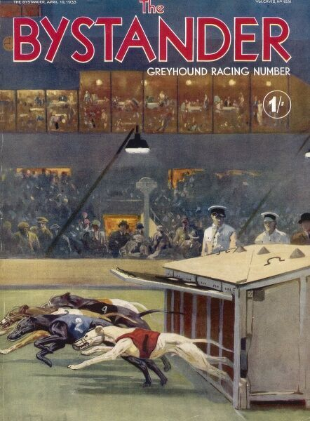 Front cover of The Bystander's special greyhound racing number, featuring greyhounds being released from the traps in front of a stadium crowd