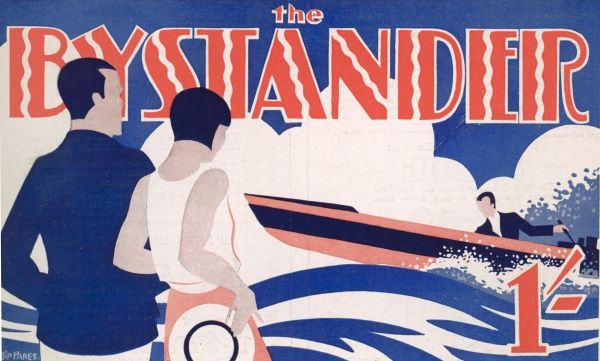 A stylish colour illustration of a couple watching a speed boat, designed for the Bystander masthead