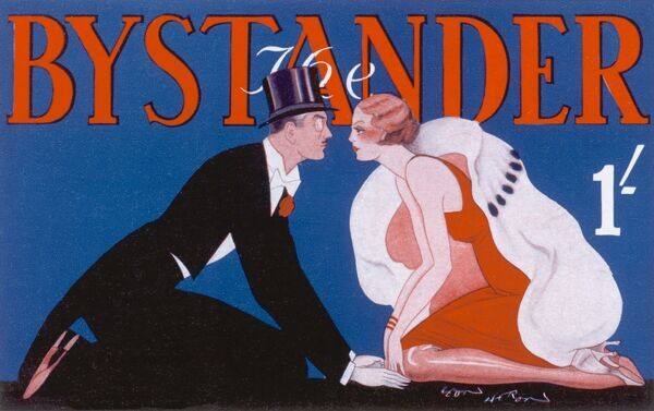 Stylised design for the front cover of The Bystander showing a well-dressed couple, he in top hat and tails, her in evening dress and fur coat facing each other and staring into one another's faces