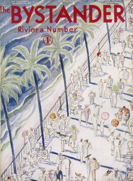 Front cover of The Bystander's Riviera Number front cover with an illustration depicting the palm tree lined promenade dotted with numerous cafe tables and people walking and socialising in the Mediterranean sunshine