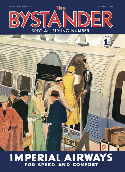 Front cover from The Bystander special flying number showing a group of elegantly-dressed passengers boarding an Imperial Airways flight
