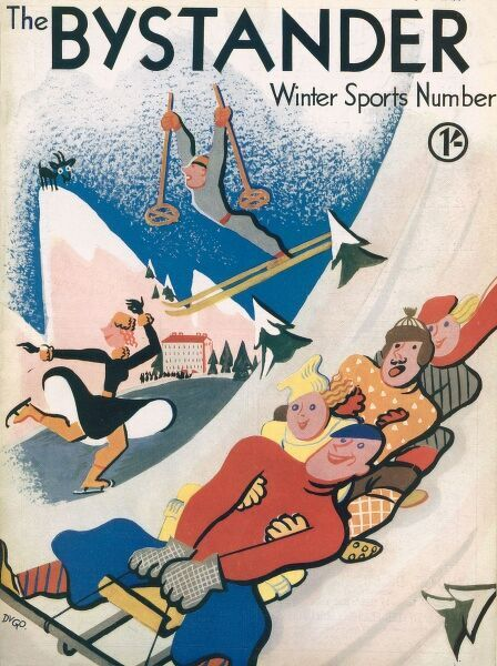 A front cover illustration showing people enjoying winter sports