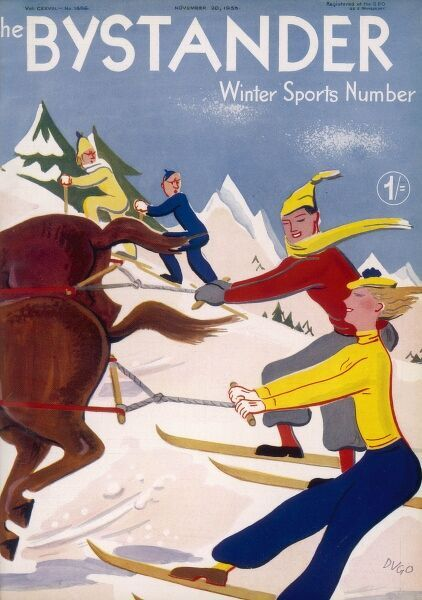 Front cover of The Bystander designed by Dugo showing some enterprising skiiers being pulled up the piste by some horses, much to the annoyance of their fellow holidaymakers