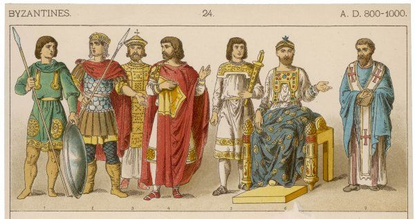 L-R: Two warriors, Nicephorus I (811), a Man of Rank, an arms bearer, Basilius (886) and a Bishop