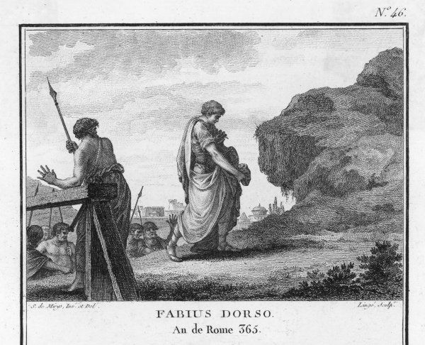 Even while the Gauls are besieging Rome, C Fabius Dorso continues to perform sacrifices on the Quirinal Hill, passing safely through the enemy camp, hoping to influence the Gods to save the city