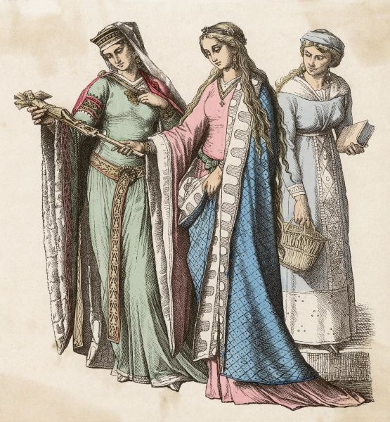 Super-tunics with pendant cuffs, long ornate girdles, mantles, hair worn uncovered or with a veil & an ornamental fillet or diadem. Date: 12th century