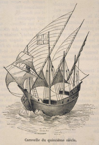 A caravel in full sail