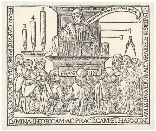 The academy of Franchino Gaforio (1451 - 1522) showing his theory of harmony linking music and geometry; his banner translates as 'Harmony is discordant concord&#39