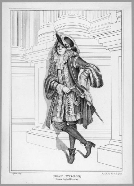BEAU WILSON Flamboyantly dressed dandy, wearing a feathered hat, ornately embroidered waistcoat with tassels, necktie and wig