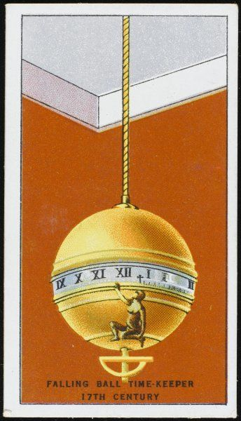 The FALLING BALL TIMEKEEPER has a central band which slowly rotates ; the time is indicated by a pointing figure