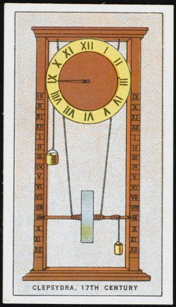 A sophisticated form of CLEPSYDRA, in which the emptying of liquid causes a drum to rotate, which in turn causing the handles to move round the clock face