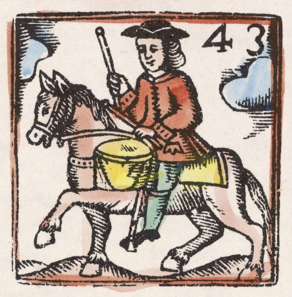 A horse-rider with a drum - perhaps a courier carrying an announcement