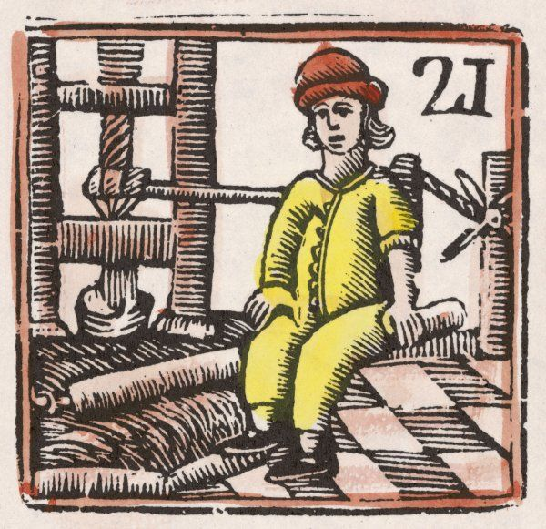 A craftsman - perhaps a leatherworker - presses some kind of material in what seems to be some kind of press