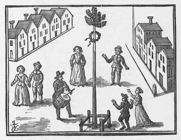 The Town Crier summons the populace to the maypole set up in the village street