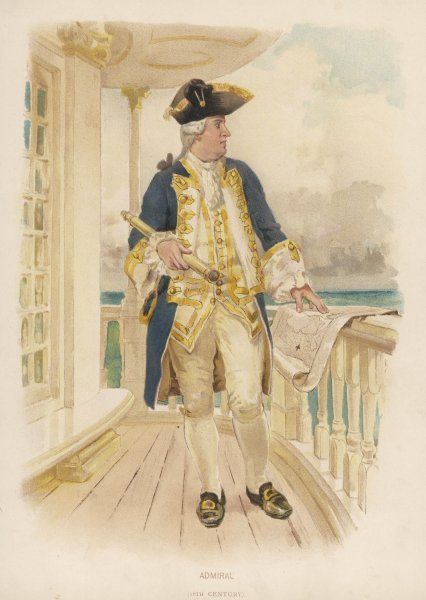 An admiral on his quarter- deck, telescope at the ready