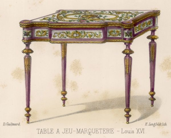 A GAMING TABLE, in marqueterie, Louis XVI period