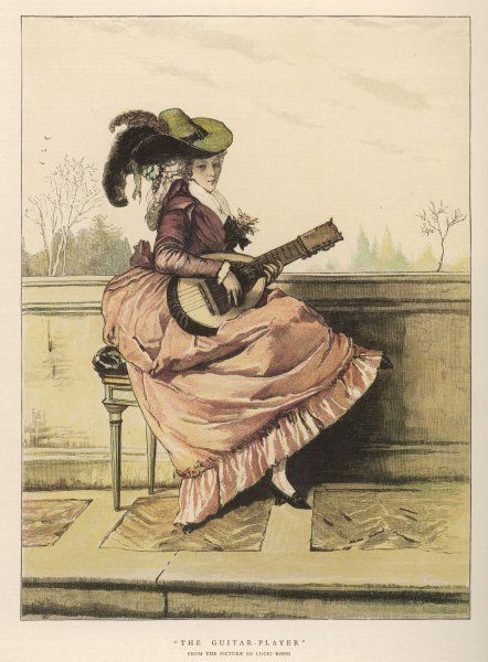 A lady plays the guitar on a terrace