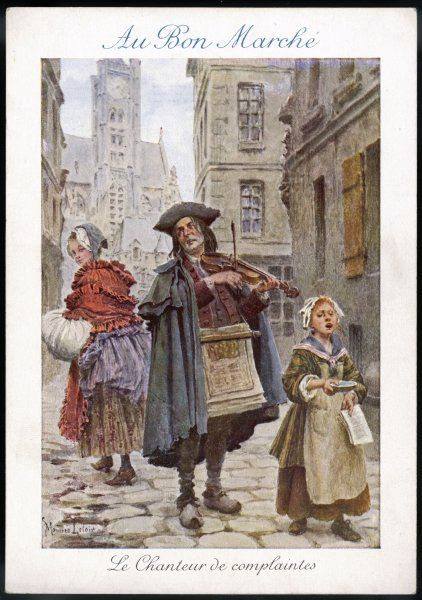 French street musicians - fiddler and singer