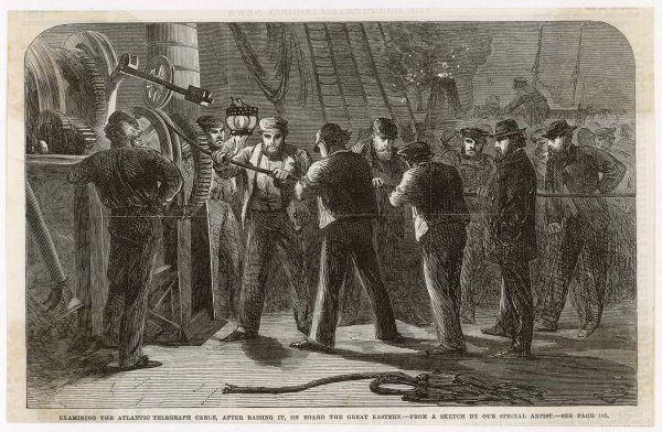 The scene on board the Great Eastern. After breaking, the cable is raised on board and examined