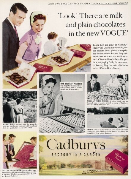 Advert for the Birmingham confectionary firm, Cadburys showing a young couple taking a tour of the company's Factory in a Garden at Bournville
