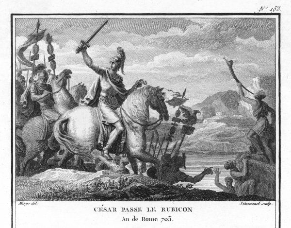 Julius Caesar crosses the Rubicon, marking the frontier of his province, thus symbolising his intention to invade Italy