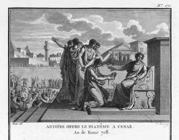 Julius Caesar is offered the crown by Marcus Antonius but he prudently refuses it knowing public opinion is against it