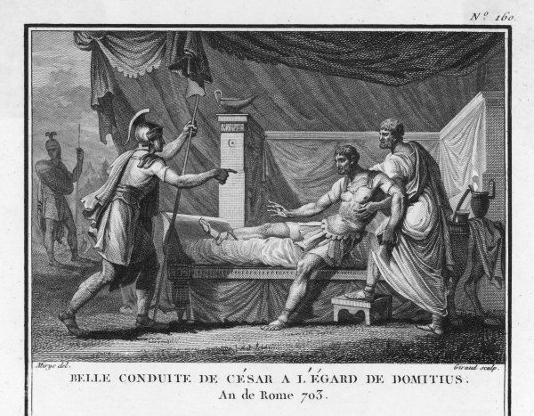 Julius Caesar captures his opponent Domitius, but diplomatically releases him as a gesture of conciliation